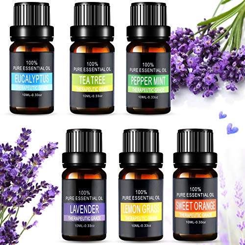 Ätherische Öle, Aiemok 6 x 10ml Aromatherapie Duftöl Set, 100% Bio Naturrein Aroma-Öl für Diffusor, 6 Different Aromas - Lavendel, Pfefferminze, Zitronengras, Süßorange, Eukalyptus, Teebaums