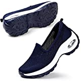 STQ Mesh Slip On Damen Freizeit Turnschuhe Fashion Outdoor Atmungsaktiv Plattform Air Walking Schuhe(Blau 40)