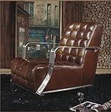 Vintage Echtleder Sessel Edelstahl Ledersessel Braun Design Sofa Lounge Möbel NEU 448