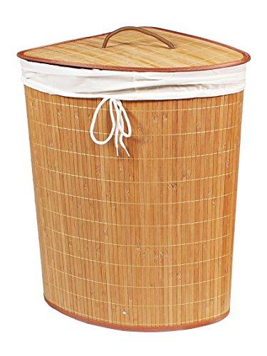 BigDean Wäschekorb Eck Bambus 60x35x35 Wäschetruhe Wäschesammler Wäschebox Dreieck Wäschesack Eckig