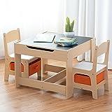 COSTWAY 3 TLG. Kindersitzgruppe Kindermöbel Kinderstuhl & Tisch Holz Maltisch