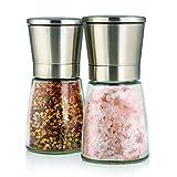 Elegante Salz und Pfeffermühle mit Ständer - 2-teiliges Gewürzmühlen Set aus schicken Edelstahl und hübschen Glasbehältern - einstellbares Keramikmahlwerk für Gewürze, Pfeffer, Salz und Chilli - Salzmühle