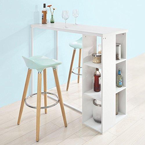SoBuy FWT39-W Bartisch Beistelltisch Stehtisch Küchentheke Küchenbartisch mit 3 Regalfächern, weiß, BHT ca: 120x105x49cm
