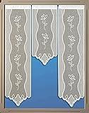 Miniflächen-Set Scheibengardine mit Muster und Spitze weiß