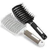Haarbürste Wildschweinborsten, gebogene Vent Haarbürste, Eberborsten Haarentwirrende Bürste geeignet für dick, dünn, lockig & nasse Haare, Ventbürste ideal zum Entwirren von dickem Haar