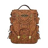 LZX Herren-Und Damen Multifunktion Outdoor-Reise Rucksack, Rucksack, Leder-Vintage-Tasche, Steampunk-Tasche, Gothic (Braun)