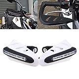 LEAGUE&CO 5 Farben Motorrad Fahrräder Protektor Handschutz Handschützer 7/8' mit LED Tagfahrleuchten für Harley Honda Yamaha Suzuki Kawasaki (Weiss)