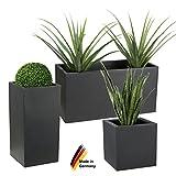 Pflanzkübel DECORAS Kunststoff Pflanztröge – versch. Größen – anthrazit – frostsicher & UV-beständig (8 Jahre Garantie) – geeignet für Innen- & Außenbereiche – Premium Blumenkübel