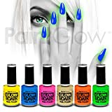 paintglow Glow in the Dark Nagellack (6 Pack) Halloween UV Neon Reactive