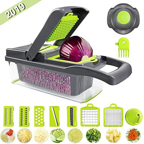 Guenx Gemüsehobel, 10 in 1 Gemüseschneider | Zwiebelschneider | Schneiden/Würfeln/Hobeln/Stifteln/Schälen/Aufbewahren | Mandoline | Obstschneider | Zerkleinerer | 2019 NEU