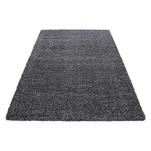 Hochflor Shaggy Teppich für Wohnzimmer Langflor Pflegeleicht Schadsstof geprüft 3 cm Florhöhe Oeko Tex Standarts Teppich, Maße:100x200 cm, Farbe:Grau