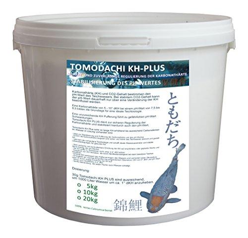 KH-Plus, hebt die Carbonathärte im Teich, schafft die Basis für eine optimale Teichbiologie, erhöht das Säurebindungsvermögen (SBV) im Teichwasser, puffert den PH-Wert zuverlässig, Tomodachi KH-Plus 5kg im praktischen, wiederverschließbaren PE-Eimer