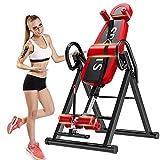 Yoleo Schwerkrafttrainer Inversionsbank klappbar Rückentrainer, volle vertikale Inversion 180° unterstützt maximal 136KG mit Kopfstütze Rückenkissen Schutzgürtel Körpergrößenskala
