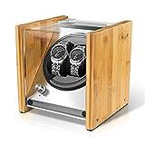 Watch Winder Smith Uhrenbeweger für 2 Uhren, 5 Modi, Super Leiser Motor, Crystal Uhrenbeweger von Natürliches Bambusgehäuse, Entmagnetisiert Edelstahlrahmen, Super Handwerk