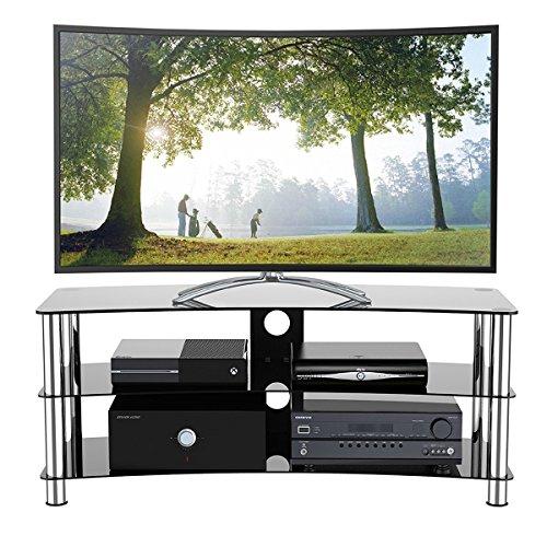 1home GT6 LCD-/Plasma-TV Rack Glas Tisch Ständer LCD Rack LED Tisch Fernsehtisch Schwarz Glas drei Ablagen 32 - 70 Zoll