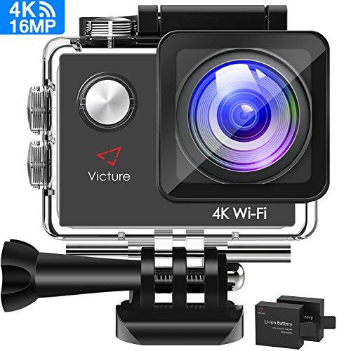 Victure 【Upgraded】 Action Cam 4K WIFI Kamera Unterwasser kamera 16MP Ultra HD Sport Camera Helmkamera Wasserdicht für Motorrad Fahrrad Reiten mit 2 Verbesserten Batterien und Kostenlose Zubehör Kits