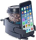 Lescars Getränkehalter: 2in1-Getränke- und Smartphone-Halterung für Kfz-Lüftungsgitter (Getränkehalter Auto)
