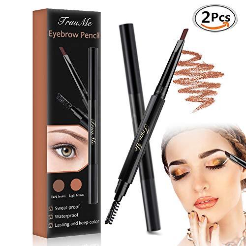 Augenbrauenstift, Eyebrow Tattoo, Eyebrow pencil, Augenbrauenstift Wasserfest, Doppelkopf Augenbrauenstift 2 Packs, Wasserdicht Wischfester Automatisch Make-up Stift Pinsel für Augenbrauen Make-up