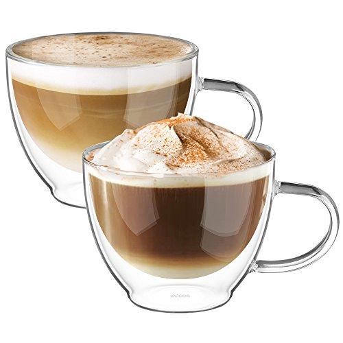 Ecooe 2-teiliges 300ml (Volle Kapazität) Doppelwandige Latte Macchiato Glaser Set Thermoglas Kaffeeglas mit Henkel