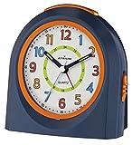 ATRIUM Wecker analog blau / orange ohne Ticken mit Licht und Snooze, Schlummerfunktion Quarz-Wecker A921-5