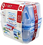 Emsa 516945 Frischhaltedosen Set, Verschiedene Größen, Einsätze, 9er Pack, transparent/blau