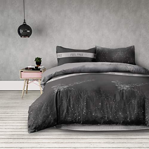 AmeliaHome 02497 3tlg Bettwäsche 200x220 cm mit 2 Kissenbezügen 80x80 cm geometrisches Muster 3-teiliger Set Bettbezug Microfaser Reißverschluss Basic Collection Eagle grau anthrazit