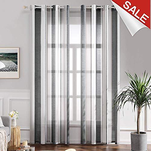MIULEE Voile Vorhang Transparente Gardine aus Voile mit Ösen Schlaufenschal Ösenschals Transparent Fensterschal Wohnzimmer Schlafzimmer 2er Set