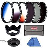 55mm Filter Set Beschoi 6 Pcs Slim Objektiv Filterset Graufilter ND2 + ND4 + ND8 + Verlaufsfilter Grau Orange Blau