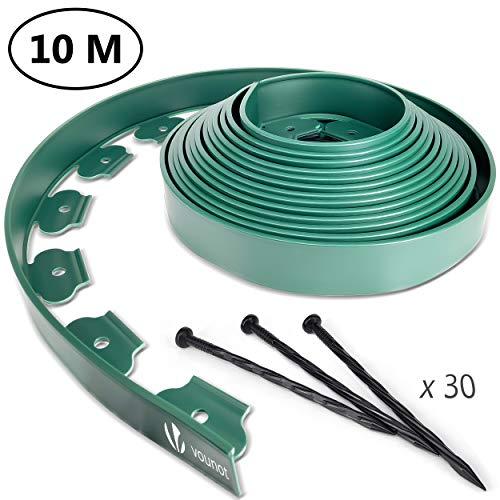 VOUNOT Flexible Rasenkante Kunststoff, mit 30 Erdanker, Länge 10m Höhe 5cm, Grün