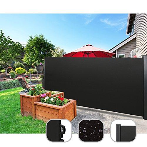 CCLIFE Seitenmarkise Ausziehbar Sichtschutz Windschutz Sonnenschutz - Diverse Farben und Größen, Farbe:Schwarz, Größe:160x300cm