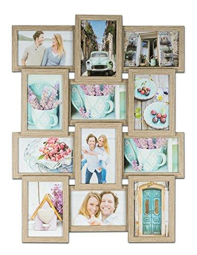 levandeo Bilderrahmen Collage B x H: 45x58cm 12 Fotos 10x15 Eiche gekälkt MDF Holz fertig montiert Glas