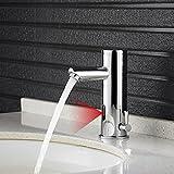 Auralum Infrarot Sensor Wasserhahn Automatik Armatur Chrom Vollautomatik IR Waschtischarmatur Waschbecken Mischbatterie waschbeckenarmatur Wasserfall Waschbecken für Badzimmer