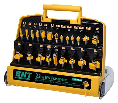 ENT 22-tlg. HM Oberfräser Fräser Set in gelber Kunststoffkassette - Schaft 8 mm