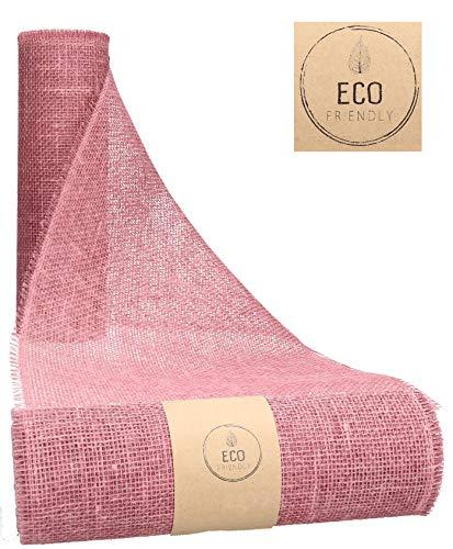 AmaCasa Juteband, Tischläufer, Soft Jute, Natur/Farbig 20cm/30cm breit, 5/10m Rolle | Tischband Deko Hochzeit rustikal Natur/Farbig (Pink, 30cm - 5m)