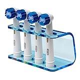 Seemi Zahnbürstenhalter Klares Blau - Passt für alle elektrischen Bürstenköpfe, Oral B, Plastik, 4 Köpfe Halter