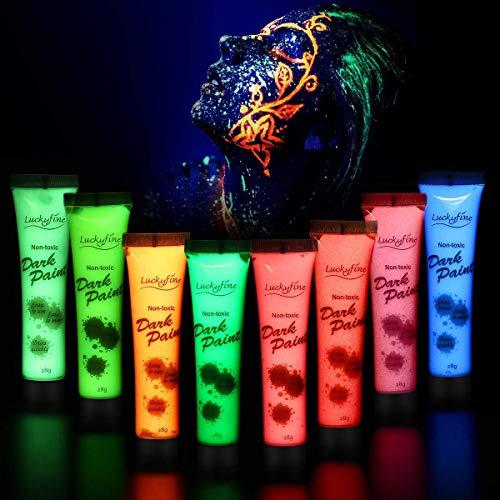 Neon Bodypainting Schminke Set, Luckyfine 8 Farben 28ml Körpermalfarben Kit für Body und Facepainting, für knalligen Glow-Effekt, Geeignet für Festivals, Weihnachten, Tänze & Party
