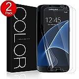 Galaxy S7 Schutzfolie (Blasenfreie), G-Color (2Stück) Mit Netzmittel [Mit Hülle] [Ultra-dünner][Einfache Installation](TPU Schutzfolie nicht panzerglas schutzfolie)(Nicht S7 Edge Schutzfolie)
