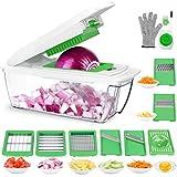 Gemüseschneider Obstschneider kartoffelschneider, Gaoqian Mutischneider Gemüsehobel mit Messereinsätzen Handschuh zum Würfeln/Scheiben/Reiben/Hobeln/Raspeln und Eiertrennen
