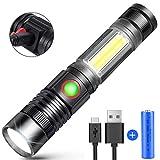 Karrong LED Taschenlampe Magnet USB Wiederaufladbar, Extrem Hell COB Taktische Zoom Taschenlampen mit 4 Modi, Wasserdicht Taschenlampe für Kinder, Outdoor, Camping, Wandern (Inklusive 18650 Batterie)