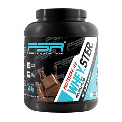 Whey Protein Eiweißpulver der deutschen Profisport Marke FSA Nutrition | Low Carb Proteinpulver mit BCAA | Für Muskelaufbau, Abnehmen, Fitness, Sport und Bodybuilding | 900g | Creamy Chocolate