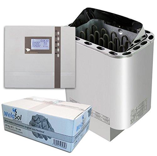 Well Solutions Saunaofen Edelstahl Next 9 kW / Externe Sauna Steuerung Premium D2 mit Zeitvorwahl / Original Marke Well Solutions