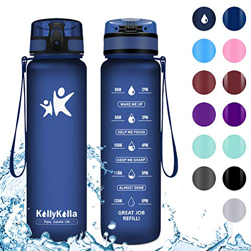 KollyKolla Trinkflasche - BPA-frei Auslaufsicher Sport Wasserflasche, 500ml Tritan Sportflasche Kohlensäure Geeignet Kunststoff mit Filter für Kinder, Schule, Baby, Fahrrad, Gym, Büro,Matte Marine