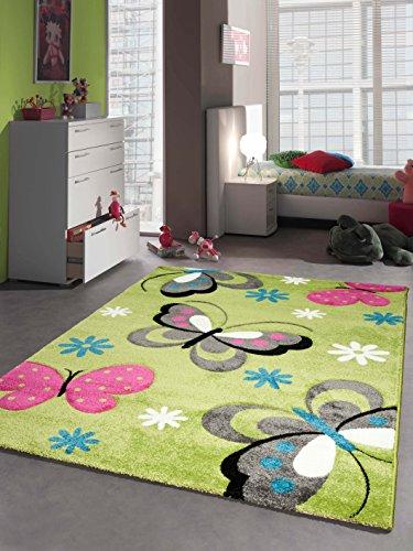 Kinderteppich Spielteppich Kinderzimmer Mädchen Teppich Schmetterling grün Größe 80x150 cm