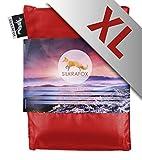 Silkrafox XL - extragroßer, ultraleichter Schlafsack, Hüttenschlafsack, Inlett , Sommerschlafsack, Kunst- Seidenschlafsack, rot