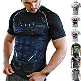 Khroom Hochwertiges Herren Funktionsshirt | Perfekt für Fitness & Gym - Kompressionsshirt im stylischen Helden Design (Black Panther, XL)