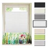Atlaz Easyfix Plissee Rollo Raffrollo ohne Bohren Klemmfix für Fenster 85x130cm (BxH) Weiß Plisseerollo Jalousie Sonnenschutzrollo Fensterrollo mitKlemmträger für Fenster und Tür