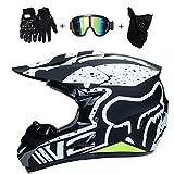 WanSheng Motorrad Motocross Motorradhelme & Windschutzmaske & Handschuhe & SCHUTZBRILLE D.O.T Standard Kinder Quad Bike ATV Go-Kart-Helm Fox (S, M, L, XL),Fox~Green,L59~60CM