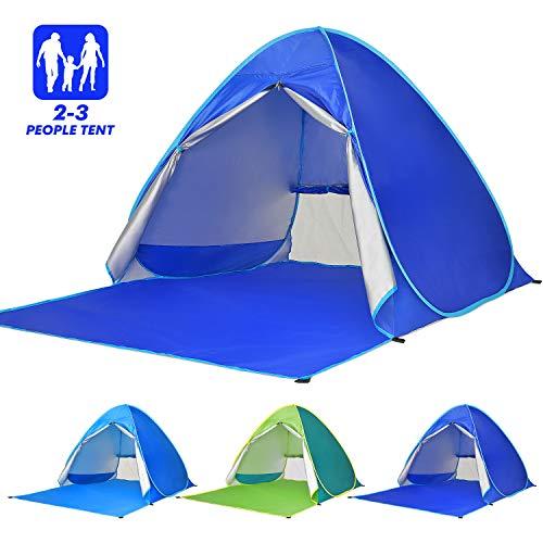Elover Strandmuschel Pop Up Strandzelt UV Schutz Familie 50+ Sonnenschutz Anti UV Zelt für 2-3 Personen Tragbar Wurfzelt für Strand Camping Garten Angeln Picknick (Dunkelblau)