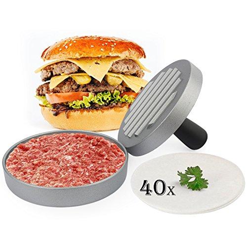 Belmalia Burgerpresse + 40 Blatt Backpapier für perfekte Burger, Hamburger, Cheeseburger, Frikadellen, Patties, Presse, Grill, antihaftbeschichtet, 11 cm