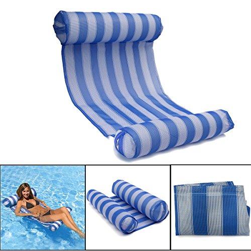 OUTERDO Wasserhängematte Aufblasbare Luftmatratze Pool Lounge für Wasserspaß Blau